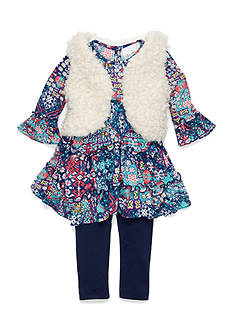 Rare Editions 3-Piece Faux Fur Vest, Printed Tunic and Legging Set Girls 4-6x