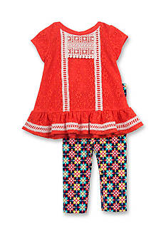 Rare Editions Lace Multi Geo Top and Legging Set Girls 4-6X