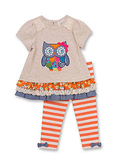 Rare Editions Owl Mixed Media Top and Leggings Set Girls 4-6x