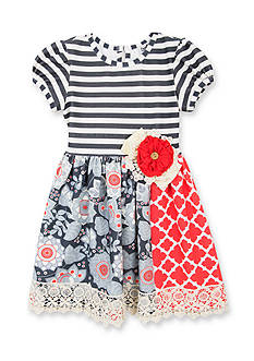 Counting Daisies by Rare Editions Floral Mixed Media Dress Girls 4-6x