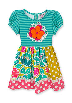 Counting Daisies by Rare Editions Flower Dot Mixed Media Dress Girls 4-6x