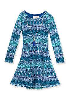 Rare Editions Blue/Green Crochet Dress Girls 4-6X