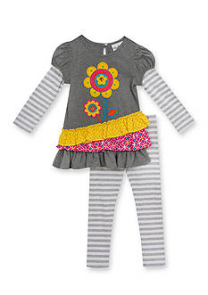 Rare Editions Stripe Asymmetrical Flower Mixed Top and Legging Set Girls 4-6x