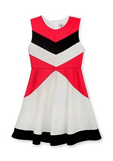 Rare Editions Color Block Knit Skater Dress Girls 7-16