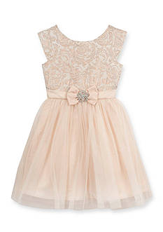 Rare Editions Lace to Tulle Bow Dress Girls 7-16