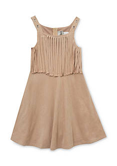 Rare Editions Suede Fringe Skater Dress Girls 7-16