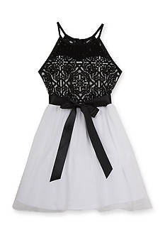 Tween Diva by Rare Editions Social Lace Dress With Chiffon Bow Girl 7-16