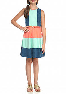 Rare Editions Suede Colorblock Sleeveless Dress Girls 7-16