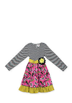 Jumping Fences by Rare Editions Stripe to Paisley Dress Girls 7-16