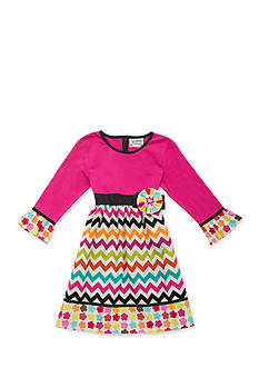 Rare Editions Chevron Mixed Media Dress Girls 7-16