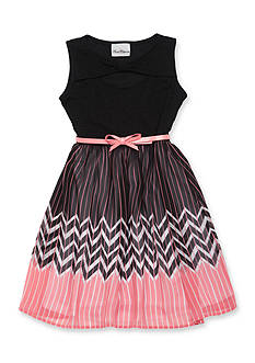 Rare Editions Solid to Chevron Dress Girls 7-16
