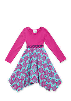 Rare Editions Solid to Damask Print Dress Girls 7-16