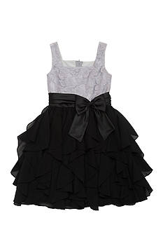 Rare Editions Lace to Cascading Ruffles Dress Girls 7-16