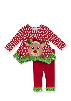 Rare Editions Christmas Tree and Reindeer Applique Tunic & Leggings Set Girls 4-6x