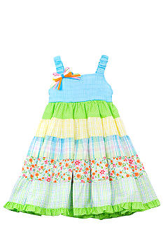 Rare Editions Tiered Mixed Media Dress Grils 4-6X