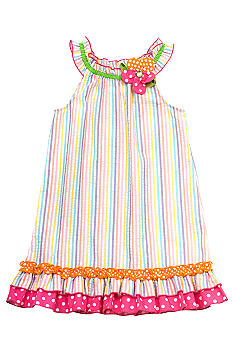 Rare Editions Stripe Seersucker Dress Girls 4-6X