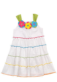 Rare Editions White Tiered Seersucker Dress 4-6X Girls