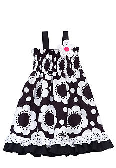 Rare Editions Black and White Floral Dress 4-6X