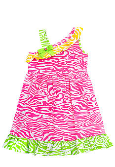 Rare Editions Fuchsia Zebra One-Shoulder Girls 4-6X