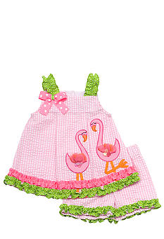 Rare Editions Flamingo Seersucker Short Set Girls 4-6X