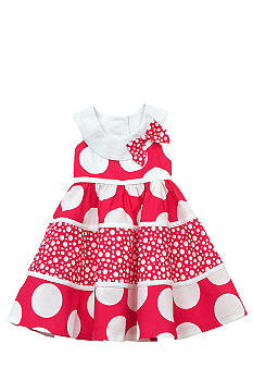 Rare Editions Tiered Mixed Dot Dress Girls 4-6X