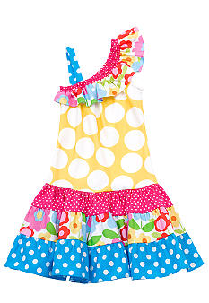 Rare Editions Yellow Polka Dot Dropwaist Dress Girls 4-6X