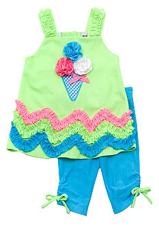 Rare Editions Ice Cream Capri Set Girls 4-6X