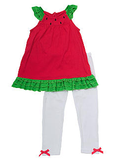 Rare Editions Watermelon Knit Capri Set Girls 4-6X