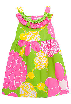 Rare Editions Green and Pink Floral Dress Girls 4-6X