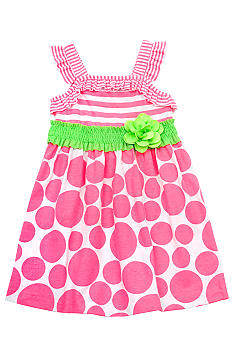 Rare Editions Knit Neon Stripe to Dot Dress Girls 4-6X