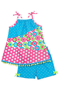 Rare Editions Pieced Dot Short Set Girls 4-6X