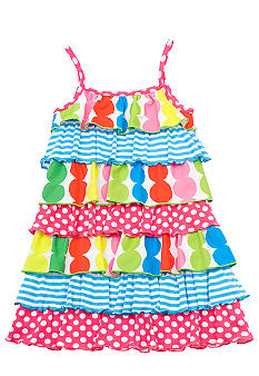 Rare Editions Tiered Dot and Stripe Dress Girls 4-6X