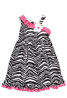 Rare Editions Zebra One-shoulder Dress Girls 4-6X