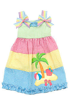 Rare Editions Beach Seersucker Dress Girls 4-6X