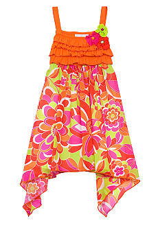 Rare Editions Orange and Lime Floral Dress Girls 4-6X