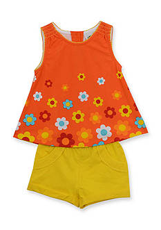 Rare Editions 2-Piece Flower Tank Top and Solid Short Set Girls 4-6x