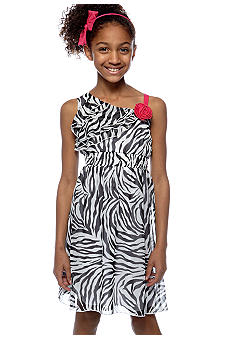 Rare Editions Zebra Flower Dress Girls 7-16