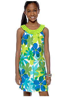 Rare Editions Flower U-Neck Dress Girls 7-16