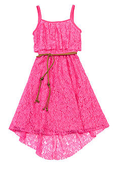 Rare Editions Lace Belted Hi Low Hem Dress Girls 7-16