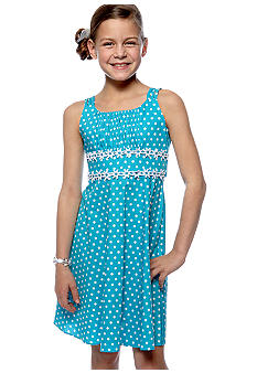 Rare Editions Flower Applique Dot Dress Girls 7-16