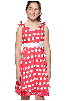 Rare Editions Coral Dot Dress Girls 7-16
