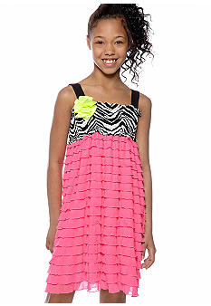 Rare Editions Zebra to Pink Eyelash Dress Girls 7-16