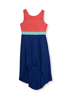 Tween Diva by Rare Editions Lace to Pleated High Low Dress Girls 7-16