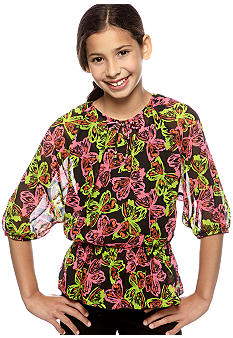 Amy Byer Neon Butterfly Print Top Girls 7-16