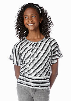 Amy Byer Sequin Stripe Banded Top Girls 7-16