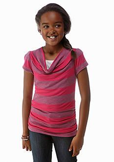 Amy Byer Hatchi Stripe Cowl Neck Tee Girls 7-16