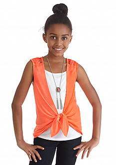 Amy Byer Crochet Front Tie Top Girls 7-16