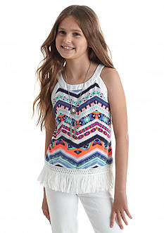 Amy Byer Tribal Printed Fringe Tank Top Girls 7-16