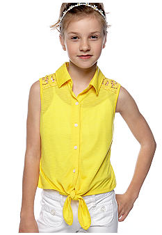 Amy Byer Solid Tie Front Shirt Girls 7-16