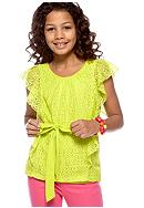 Amy Byer Tie Front Lace Top Girls 7-16
